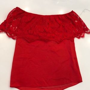 Off the shoulder red boutique top